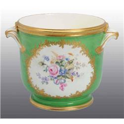 Porcelain Hand-Painted Sevres Handled Bowl.
