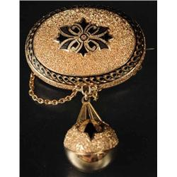 Antique Jewelry 14K Y.Gold Pin with Hanging Ball.