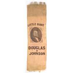 [Douglas, Stephen] Douglas/Johnson Campaign Ribbon, 1860