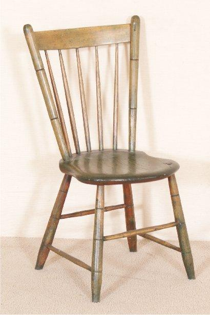 EARLY PLANK SEAT SPINDLE BACK CHAIR WITH OLD GREE. Loading zoom - EARLY PLANK SEAT SPINDLE BACK CHAIR WITH OLD GREE