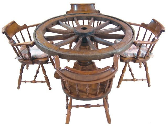 Beau Antique Wagon Wheel Table. Loading Zoom