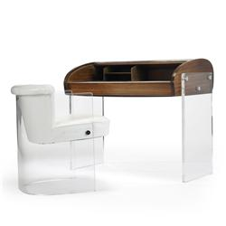 Vladimir Kagan Roll-Top desk and Plexiglas chair