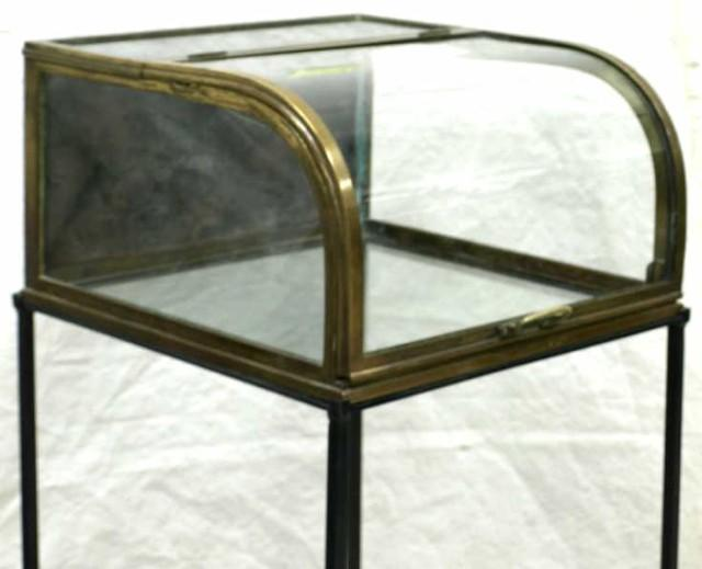 Brass Curved Glass Display Case On Wrought Iron