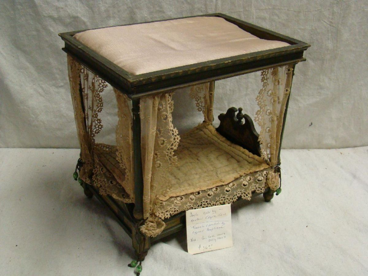 Antique Doll Canopy Bed. Loading zoom & Antique Doll Canopy Bed