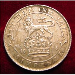 1924 Great Britain Silver Six Pence
