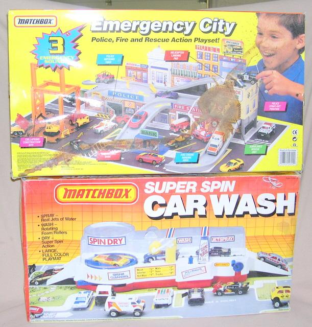 Lot Of 2 Playsets--Super Spin Car Wash & Emergency City