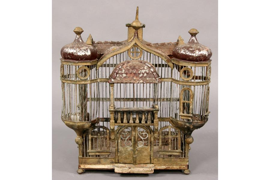 ANTIQUE FRENCH TOLE BIRD CAGE CHATEAU FORM