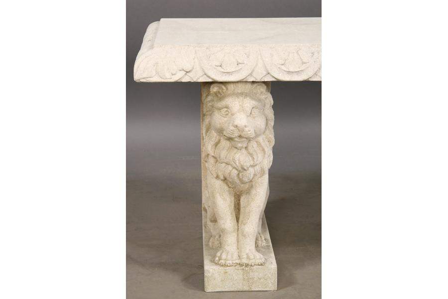 ... Image 4 : CAST STONE GARDEN BENCH SEAT WINGED LION ...