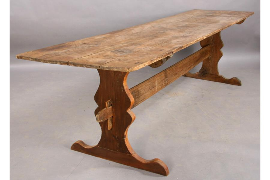 Image 1 : ANTIQUE FRENCH TRESTLE TABLE HAND PLANED GARDEN ...