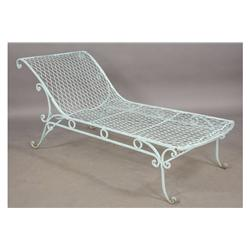 Vintage wrought iron french garden chaise lounge - Chaise metal vintage ...