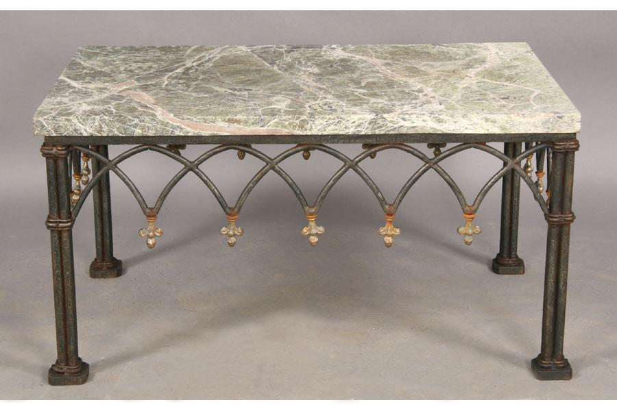MARBLE TOP COFFEE TABLE GOTHIC WROUGHT IRON BASE. Loading Zoom