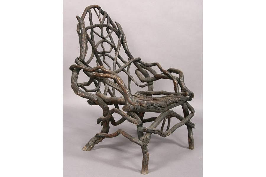 Charmant ... Image 2 : ANTIQUE AMERICAN ROOT TWIG CHAIR GARDEN FURNITURE ...