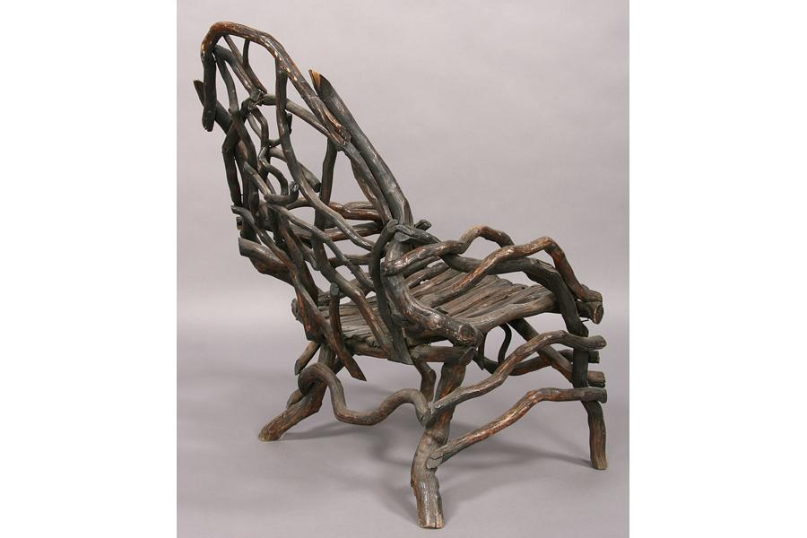 ... Image 5 : ANTIQUE AMERICAN ROOT TWIG CHAIR GARDEN FURNITURE