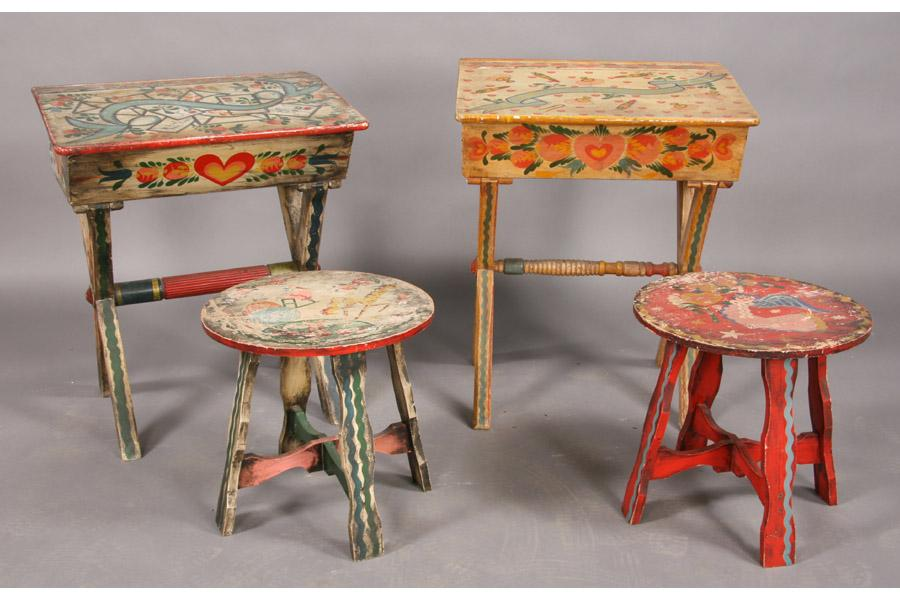Charming 4 PIECES PETER HUNT PAINTED FURNITURE DESK TABLE. Loading Zoom