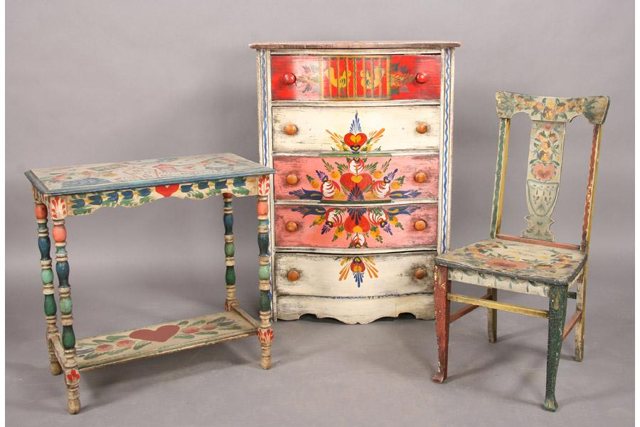3 PCS PETER HUNT PAINTED FURNITURE CHEST CHAIR. Loading Zoom