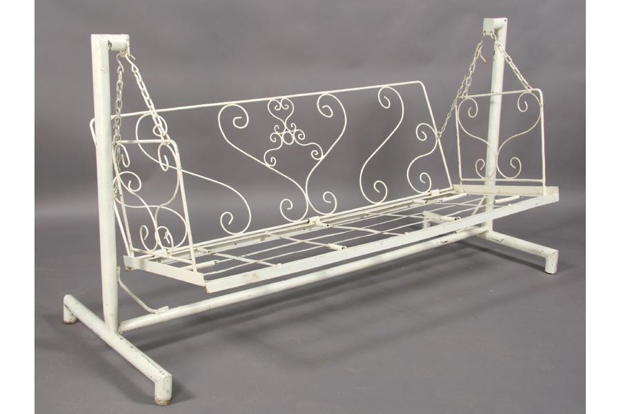 ... Image 2 : WROUGHT IRON GARDEN SWING WITH FRAME SCROLL WORK ...
