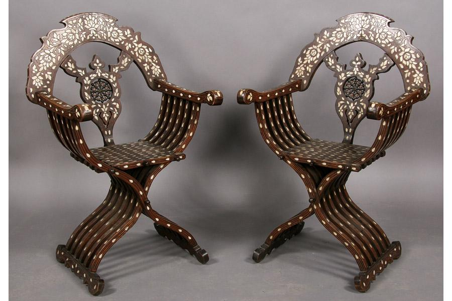 Gentil Image 1 : PAIR SYRIAN MOTHER OF PEARL INLAID CHAIRS ...