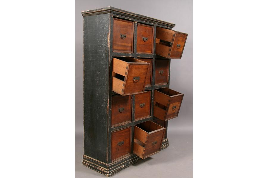 - VINTAGE MULTIDRAWER STORAGE CABINET 12 DRAWERS