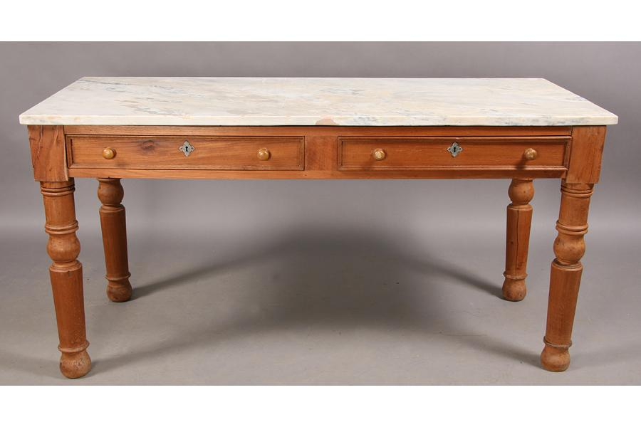 Image 1 : ANTIQUE MARBLE TOP PASTRY TABLE SLAB TOP ...