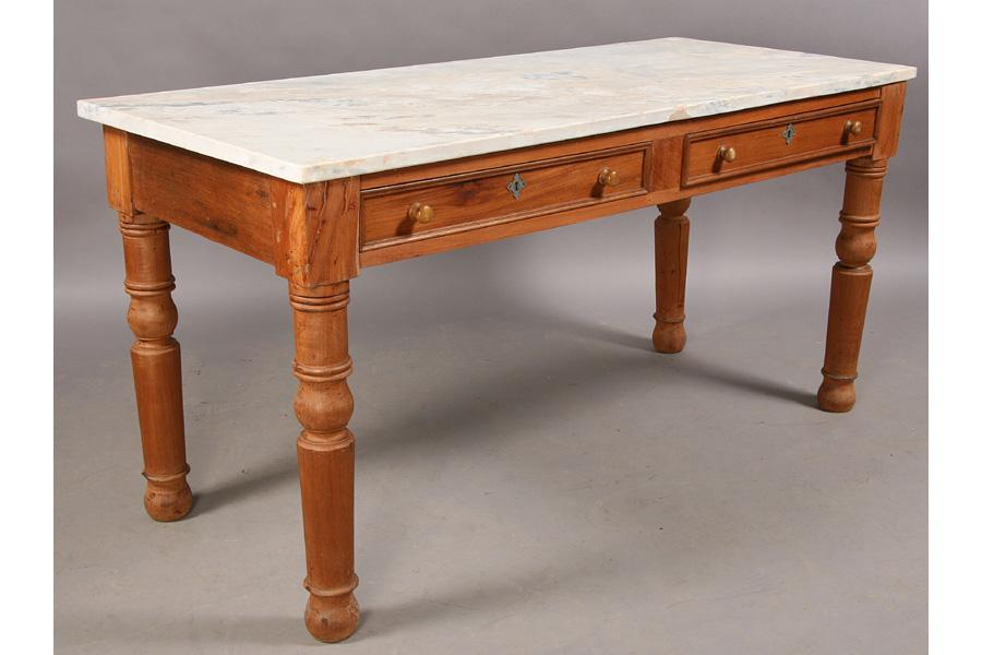 ... Image 2 : ANTIQUE MARBLE TOP PASTRY TABLE SLAB TOP ...