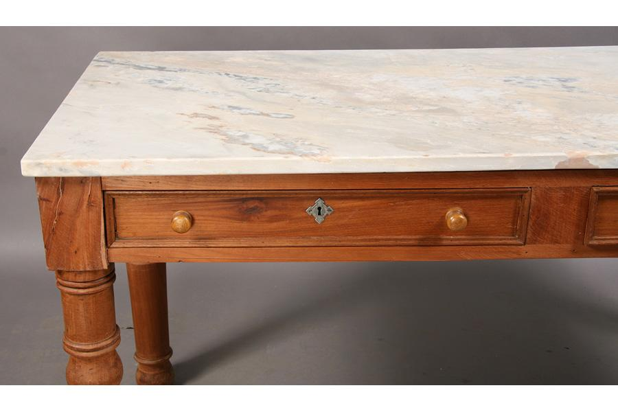... Image 5 : ANTIQUE MARBLE TOP PASTRY TABLE SLAB TOP