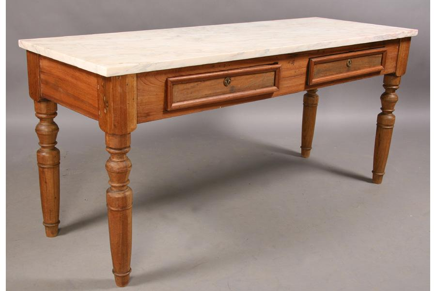 ... Image 2 : ANTIQUE MARBLE TOP PASTRY TABLE SLAB TOP PAINTED ...