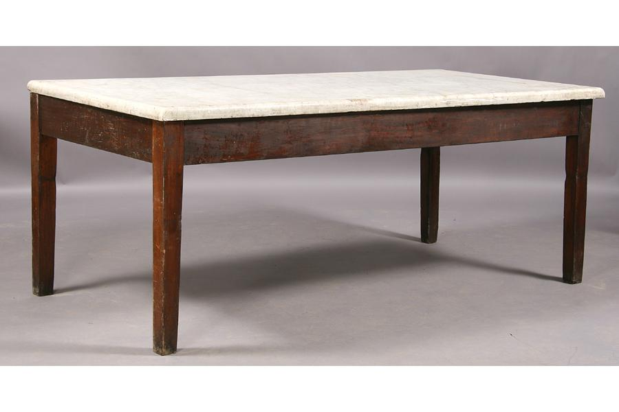 ... Image 2 : LARGE VINTAGE MARBLE TOP PASTRY TABLE ISLAND ...