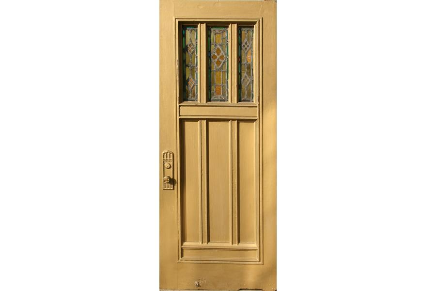 Pair Oak Entry Doors Gothic Stained Glass Panels