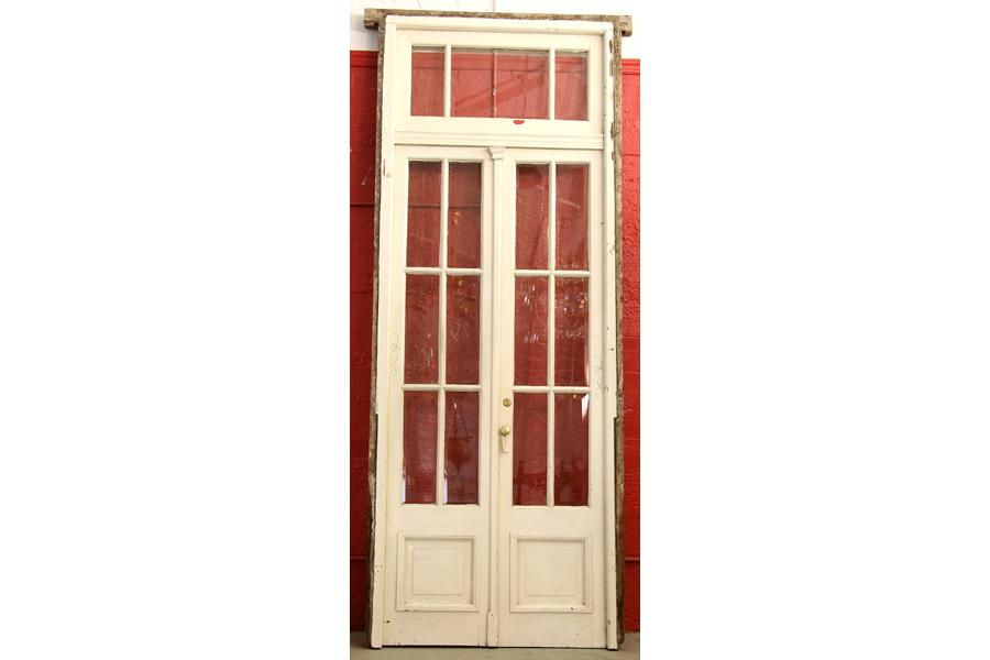 ANTIQUE PAIR FRENCH DOORS TRANSOM BEVELED GLASS. Loading Zoom