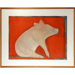 Selina Trieff, Pig with Orange, Painting