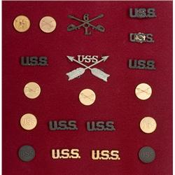 Lot of U.S. Indian Scout Collar Badges and Hat Devices,