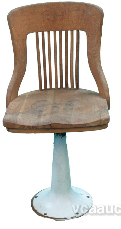 Image 1 : Oak Seat Swivel Chair W/ Porcelain Pedestal Base