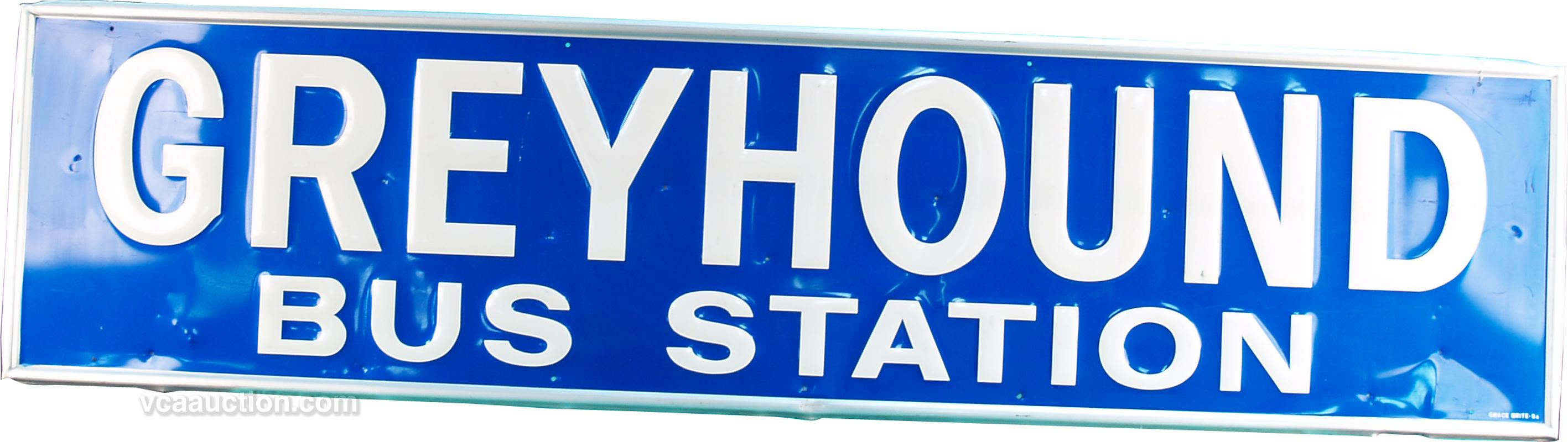Greyhound Bus Station Embossed Tin Sign, Blue w/ White
