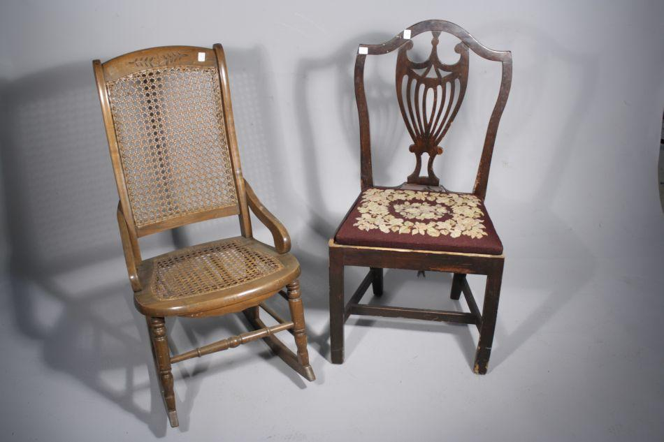 Image 1 : A Victorian Style Pine Rocking Chair with Caned Seat Together  with a Hepplewhite ... - A Victorian Style Pine Rocking Chair With Caned Seat Together With A