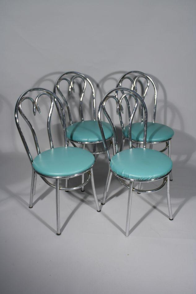 Image 1  A Group of Four Vintage Chrome Chairs. & A Group of Four Vintage Chrome Chairs.