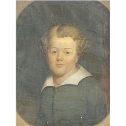 19th Century American School, Portrait of a Boy, Oil on canvas.