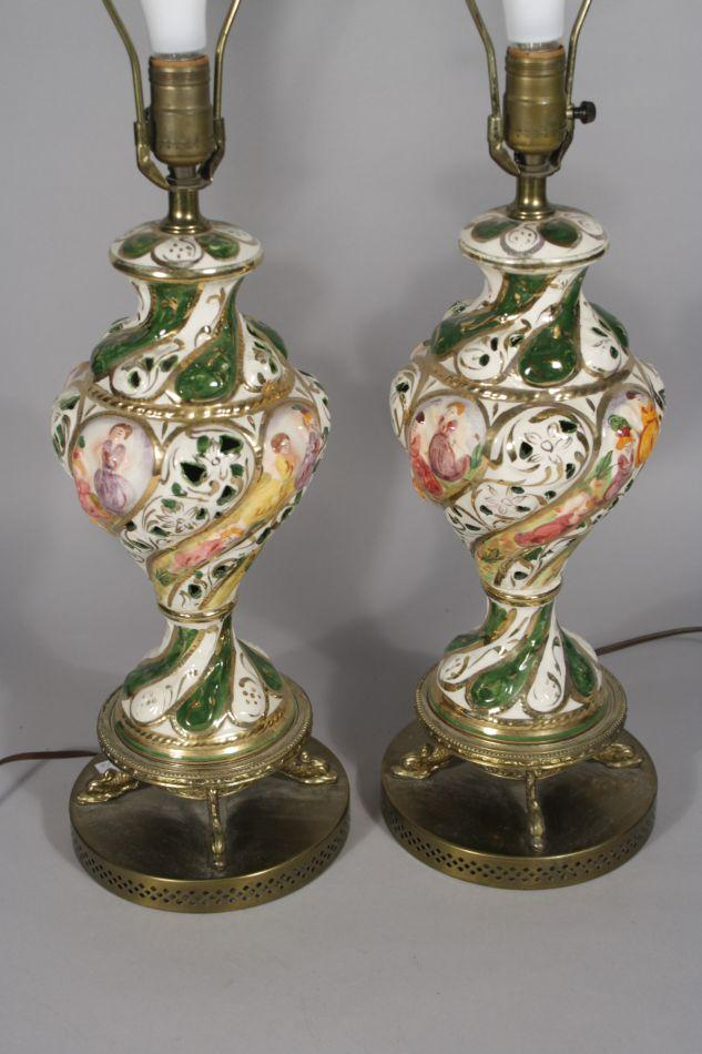 A Pair of 20th Century Capodimonte Porcelain Table Lamps.