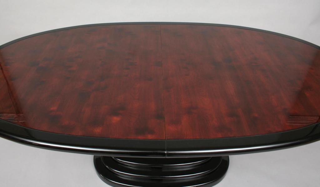 Henredon Black Lacquer and Burl Dining Table