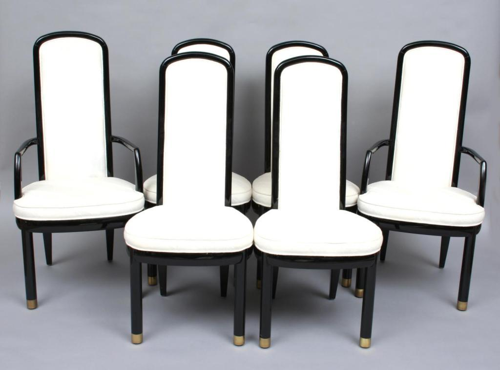 Six Henredon Black Lacquer Dining Chairs