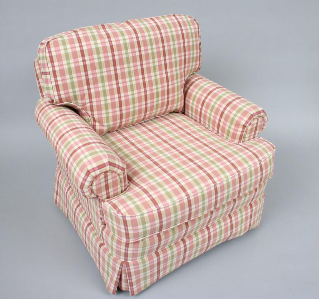 Superbe ... Image 3 : Modern Plaid Upholstered Club Chair U0026 Ottoman