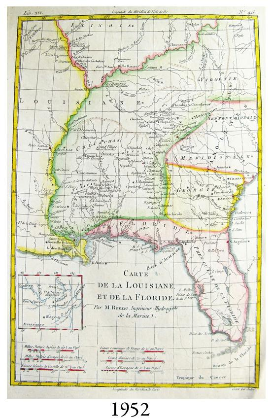 Circa 1770 Colored French Map Of Florida And The Southeastern