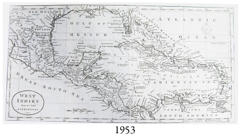 Circa-1780 British map of the West Indies entitled \
