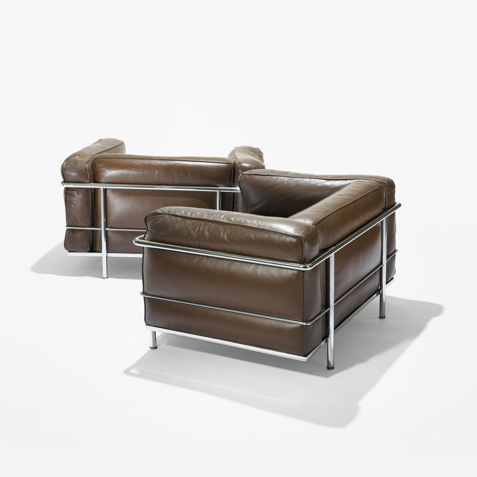 pierre jeanneret charlotte perriand and le corbusier grand comfort lounge chairs pair - Le Corbusier Chair
