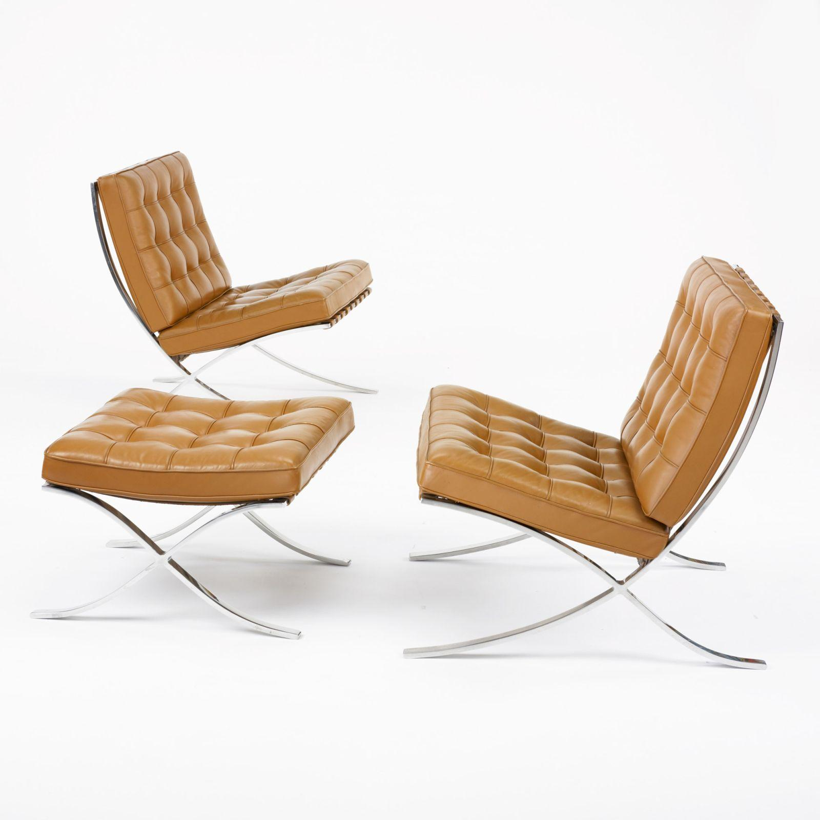 Ludwig Mies van der Rohe pair of Barcelona chairs with ottoman