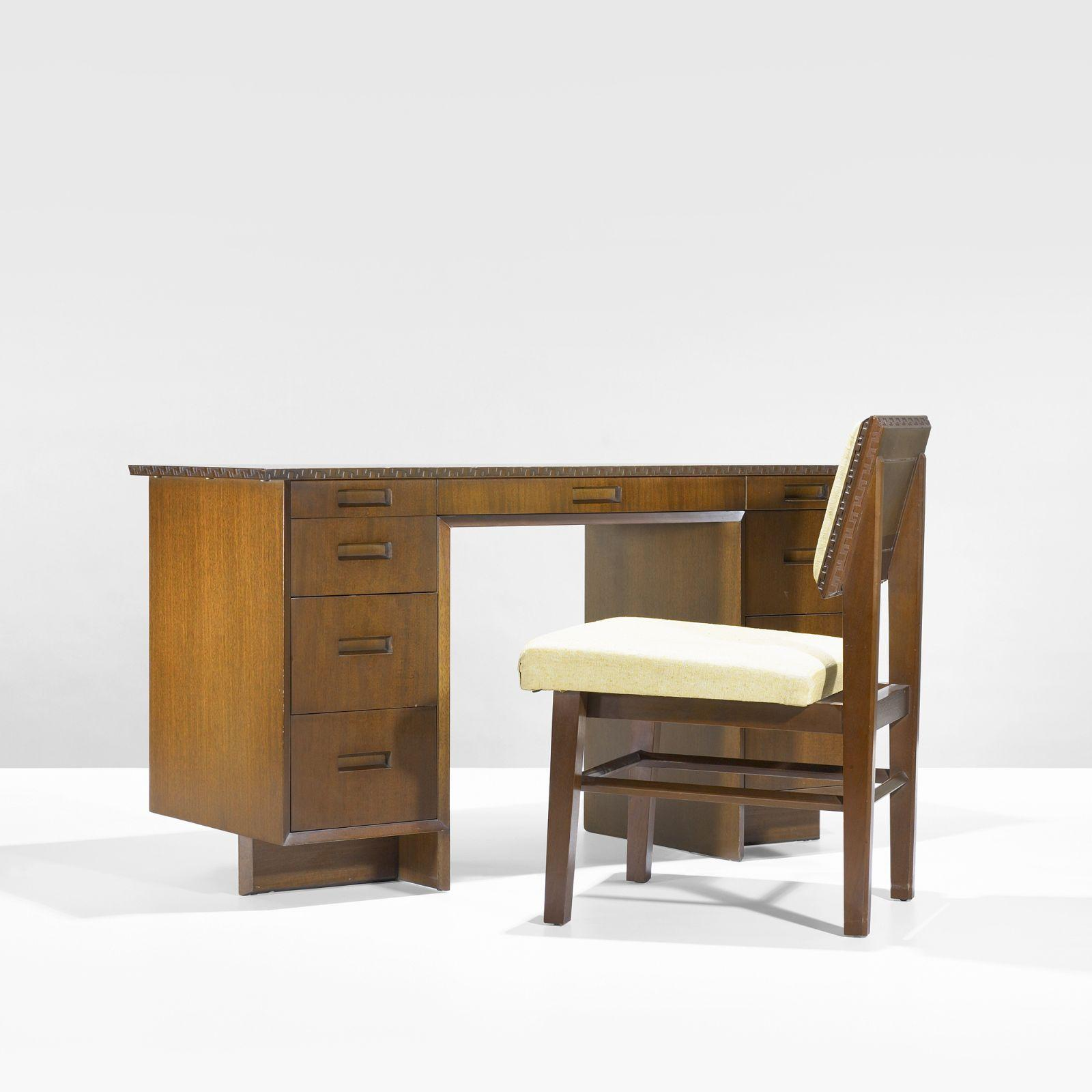 Frank Lloyd Wright desk, model 2000 and chair