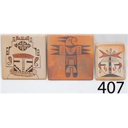 THREE HOPI POTTERY TILES