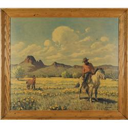 Pair of Cowboy Lithos by popular Tucson artist, Ray Strang (1893-1957)