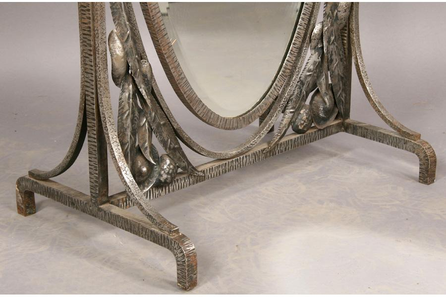 FRENCH WROUGHT IRON ANTIQUE CHEVAL MIRROR