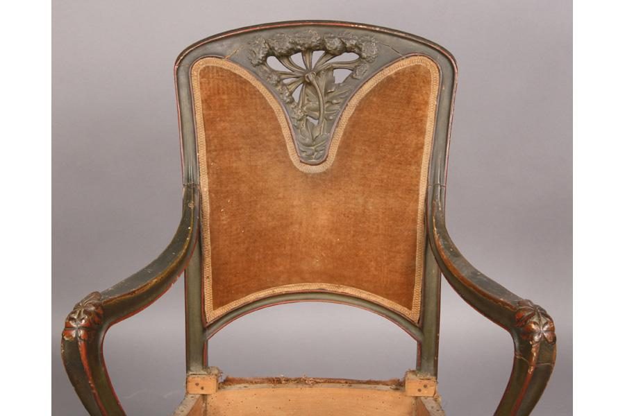 Wood Arm Art ~ French art nouveau carved wood arm chair