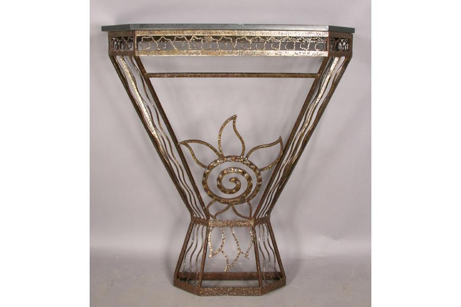 art deco fer forge iron marble top console. Black Bedroom Furniture Sets. Home Design Ideas